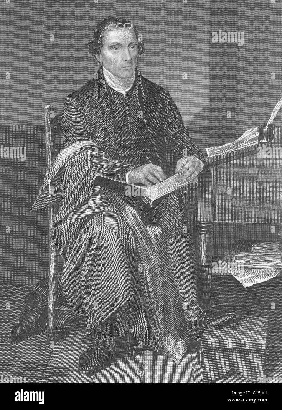 Patrick Henry (29. Mai 1736 - 6. Juni 1799) war ein US-amerikanischer Rechtsanwalt, Pflanzer und Politiker als Redner Stockbild
