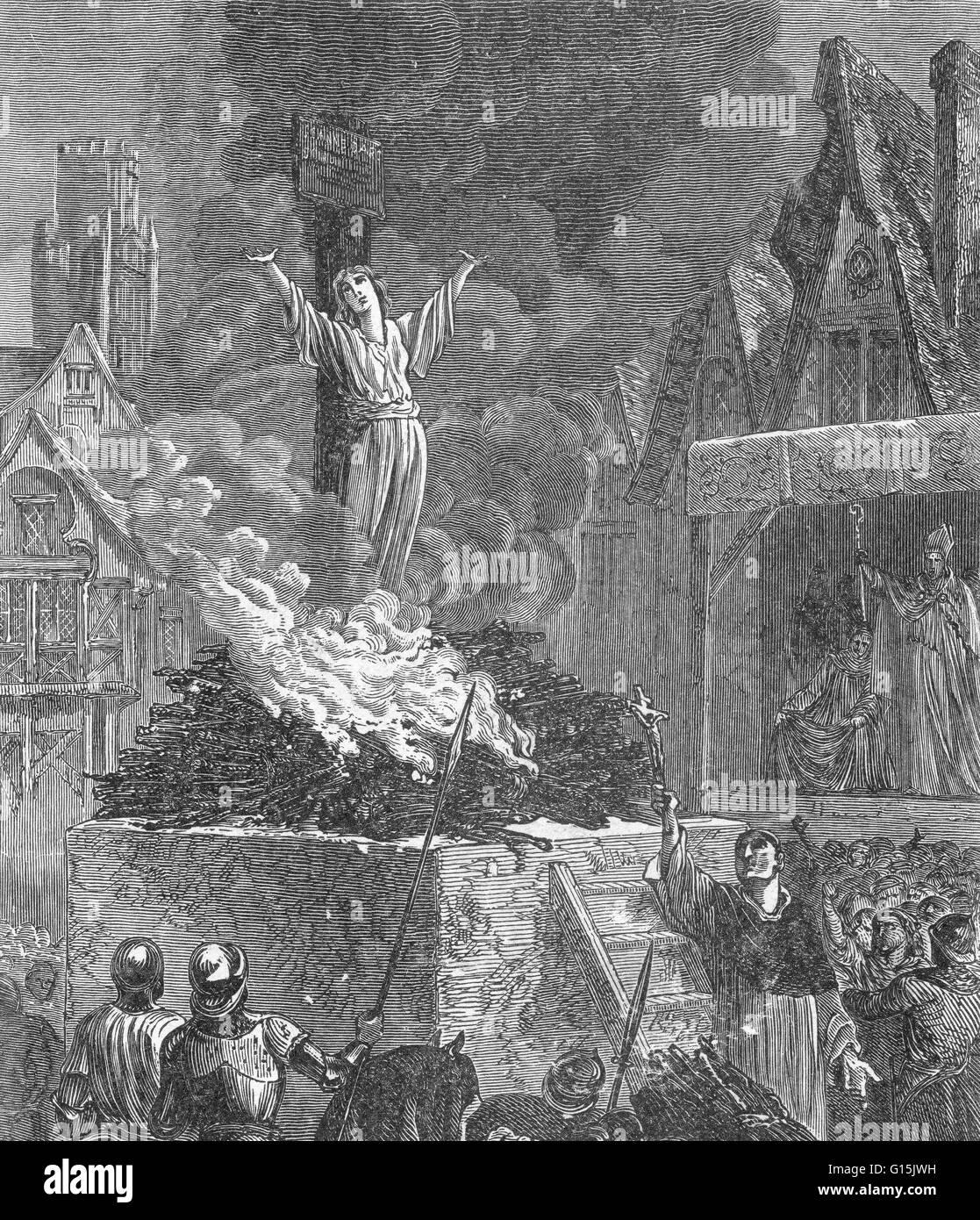 Berechtigt, Jeanne d ' Arc, Hexe und Ketzer. Unbekannter Künstler. Joan of Arc (6 Januar 1412-30 Mai 1431) Stockbild