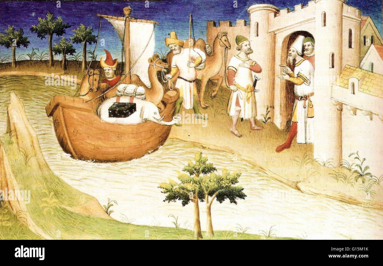 Marco Polo mit Elefanten und Kamelen in den Golf von Persien aus Indien. Miniatur aus dem Buch, die Reisen des Marco Stockbild