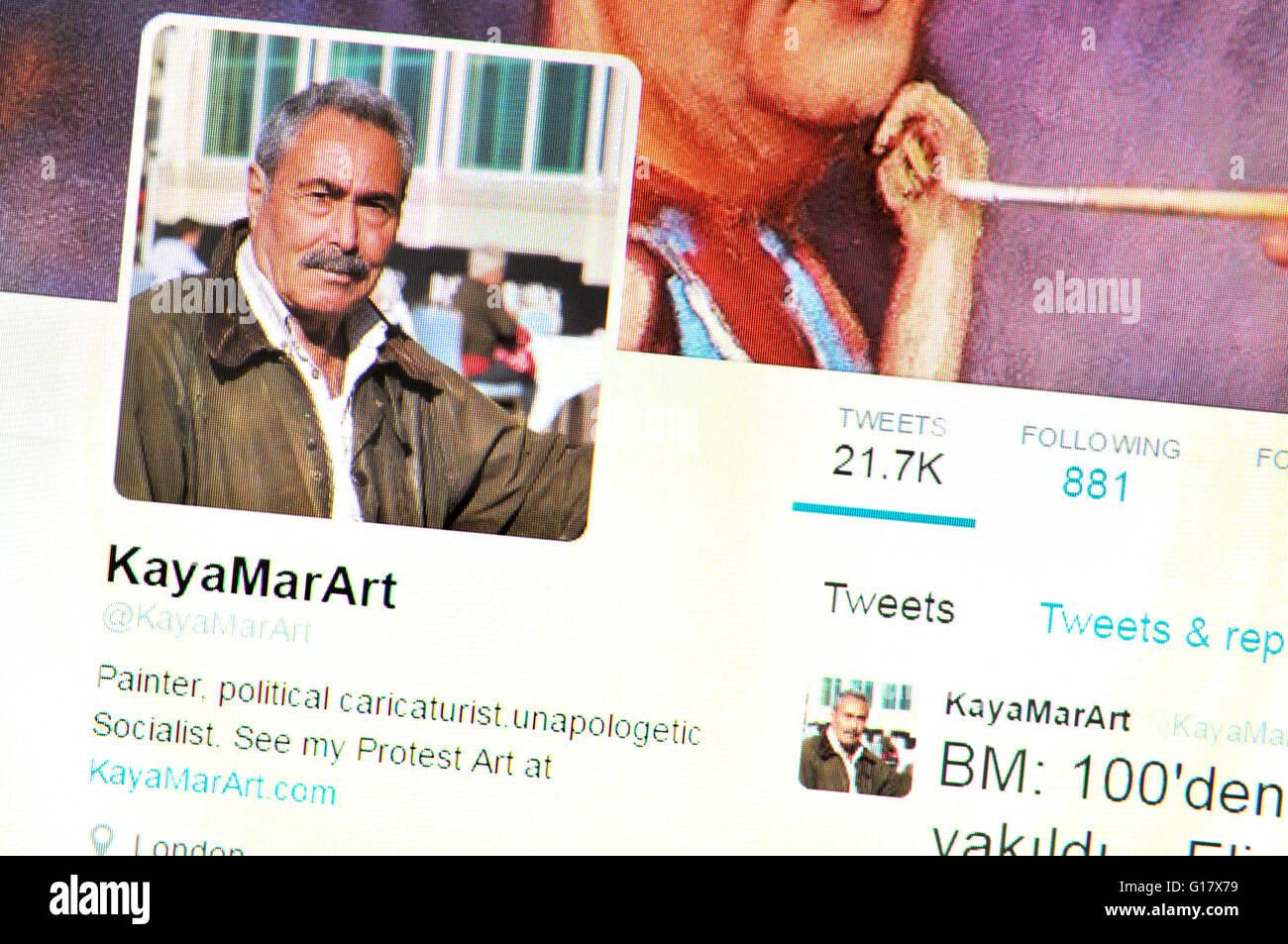Twitter homepage Screenshot: kaya Mar, türkische satirischen Zeichner (Mai 2016) Stockbild