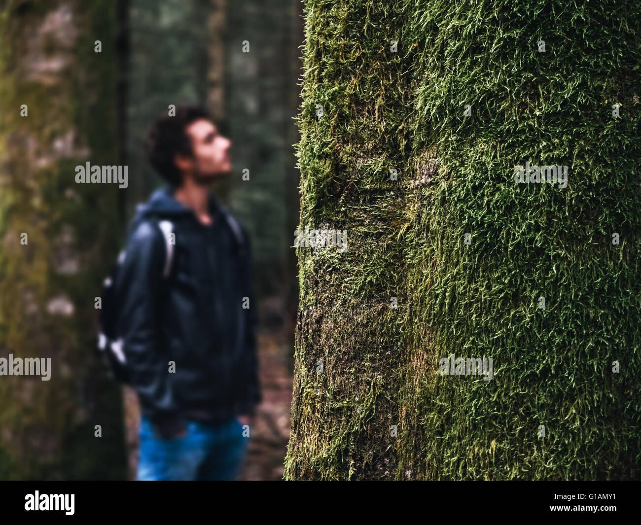 Junge Wanderer in den Wäldern stützte sich auf einen Baum, Moos bedeckt Baum im Vordergrund, selektiven Stockbild