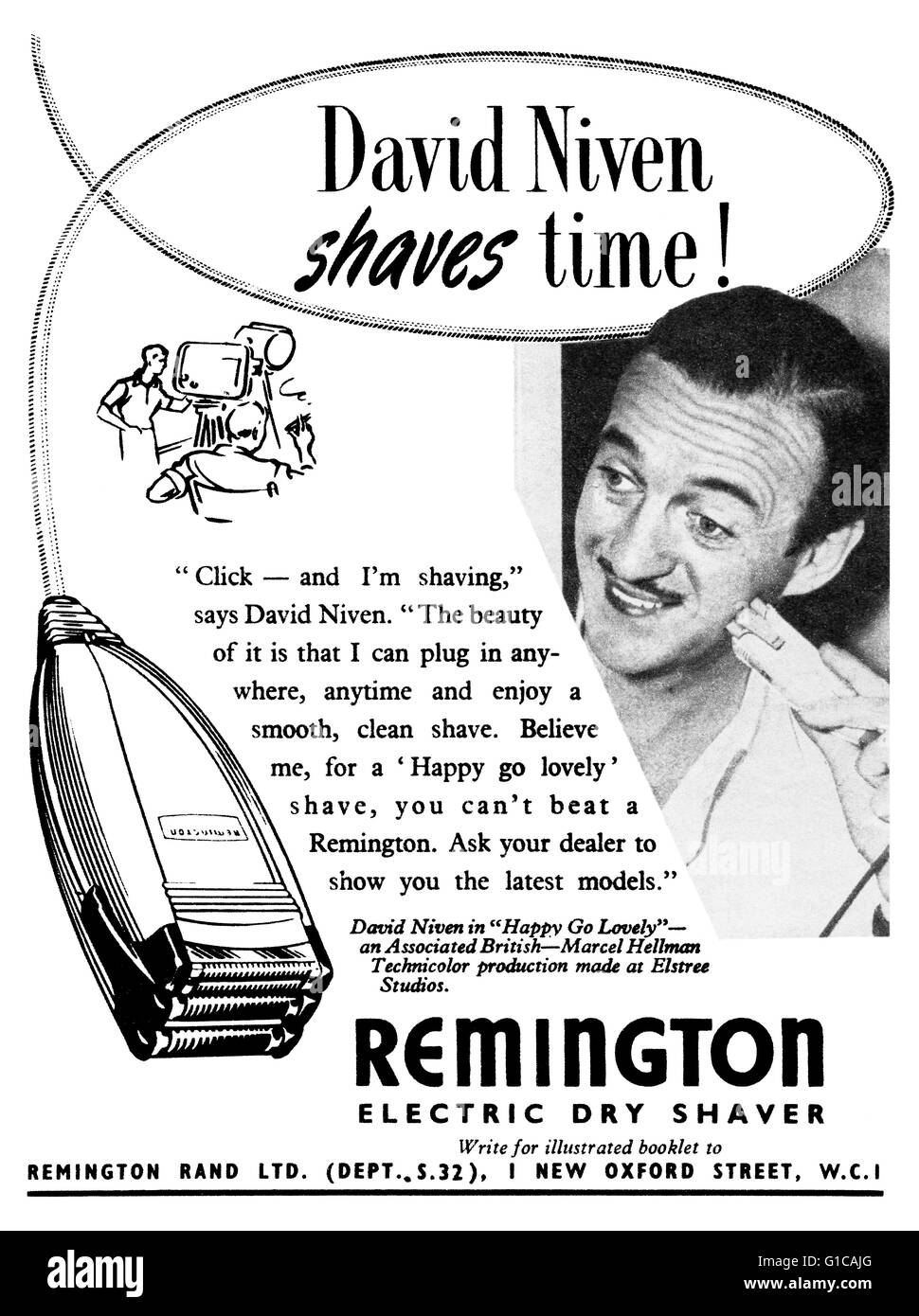 1951-UK Remington trocken Elektrorasierer-Werbung mit Film-Star David Niven Stockbild