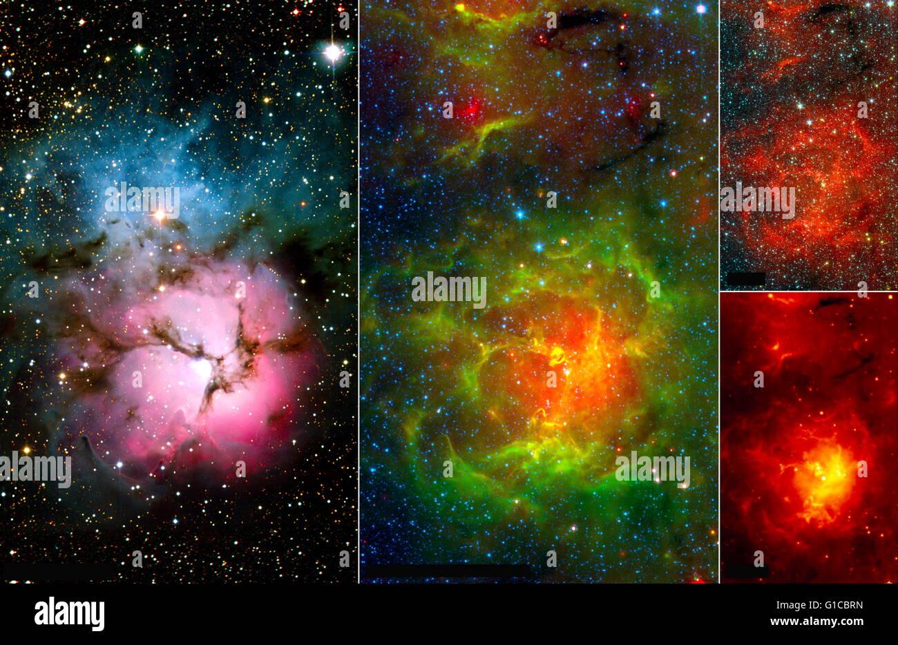 Die falsche Farbe Spitzer Bilder zeigen eine andere Seite von der Trifid-Nebel. Vom Jahr 2004 Stockbild