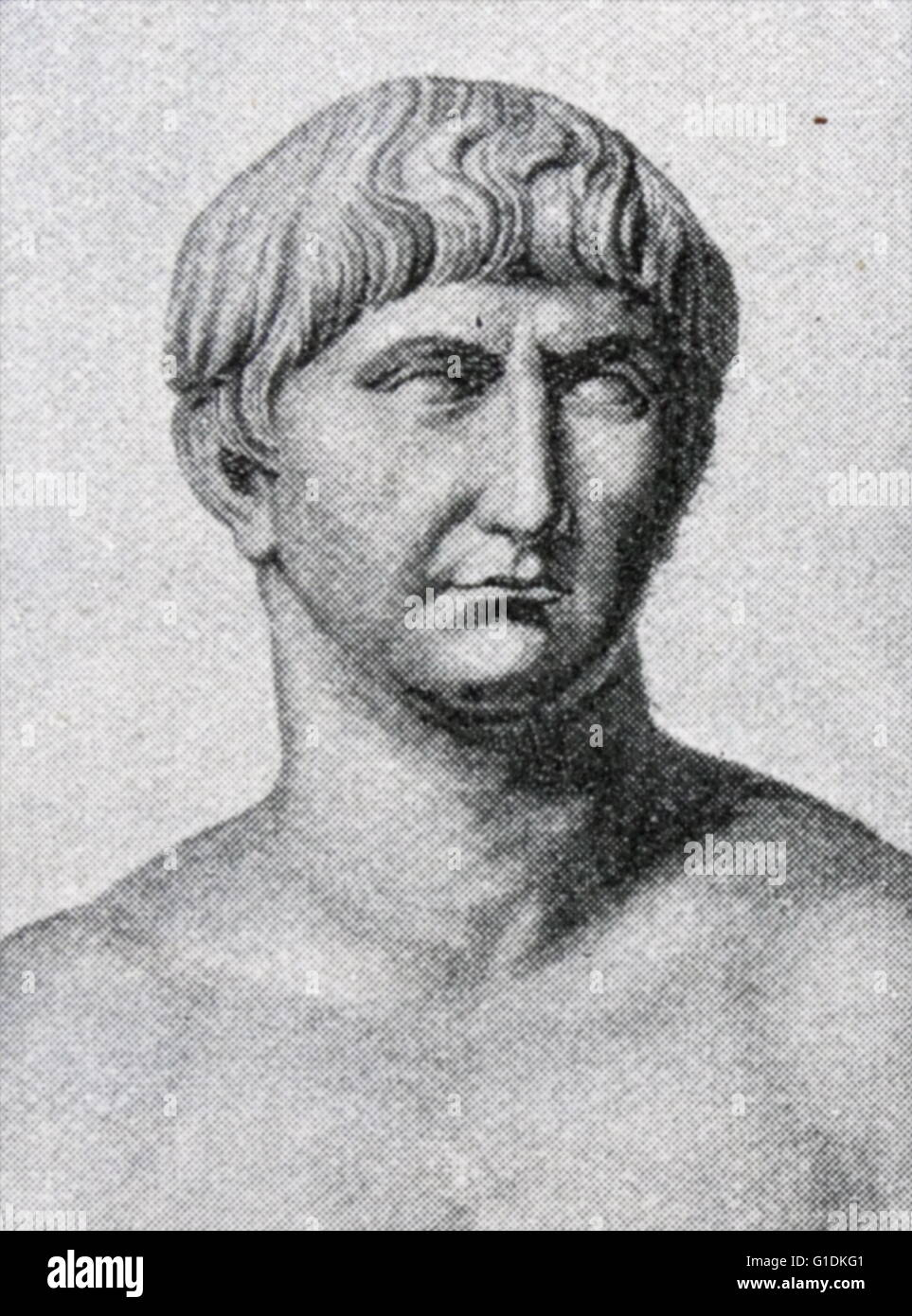 Büste des römischen Kaisers Trajan (53-117) Stockbild
