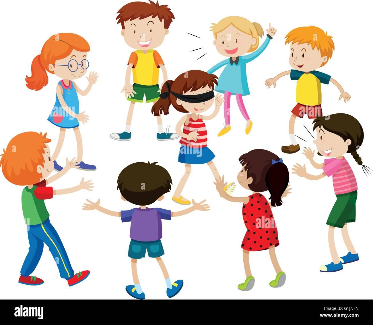 Kinder spielen blinde gefaltete Abbildung Stockbild