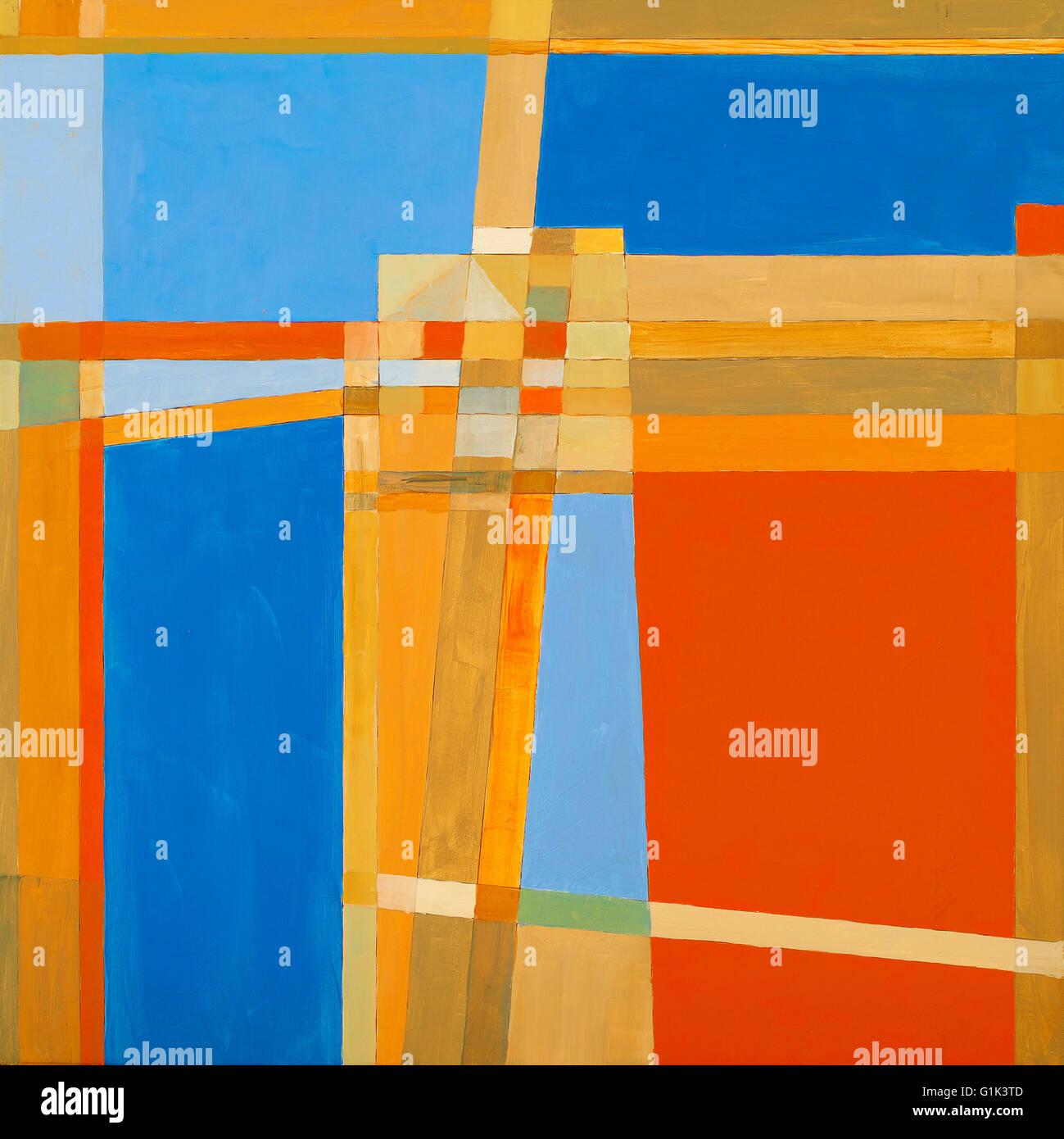 Eine abstrakte Malerei; geometrische Abstraktion. Stockbild