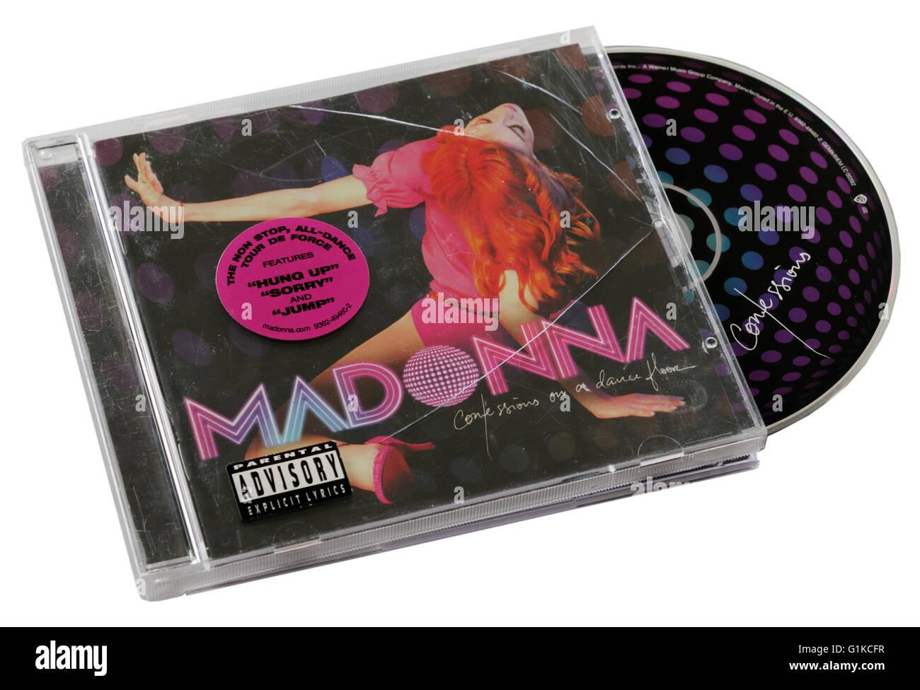 Madonna-Geständnisse auf einen Tanz Etage CD Stockbild
