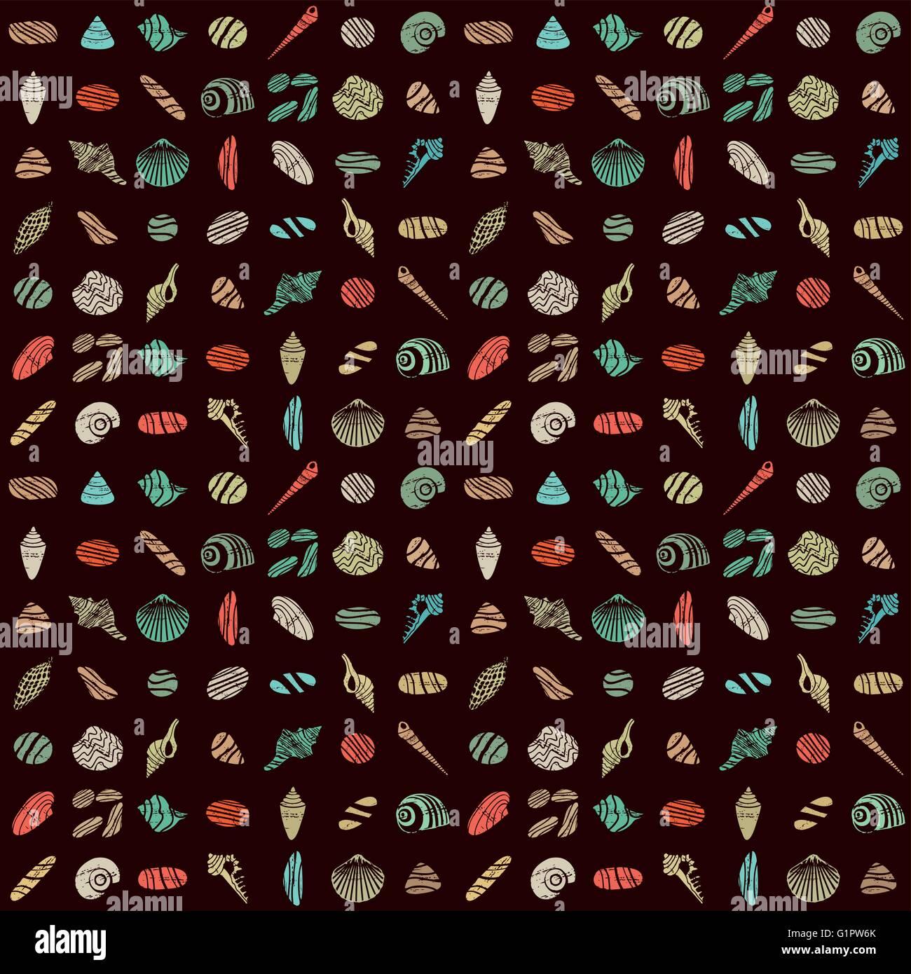 Muscheln und Steinen nahtlose Muster 1 Stockbild
