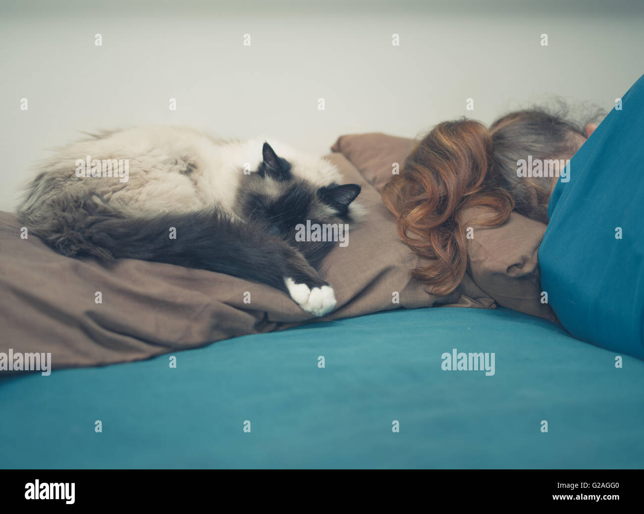 Eine junge Frau schläft in einem Bett mit einer Katze neben ihr Stockbild