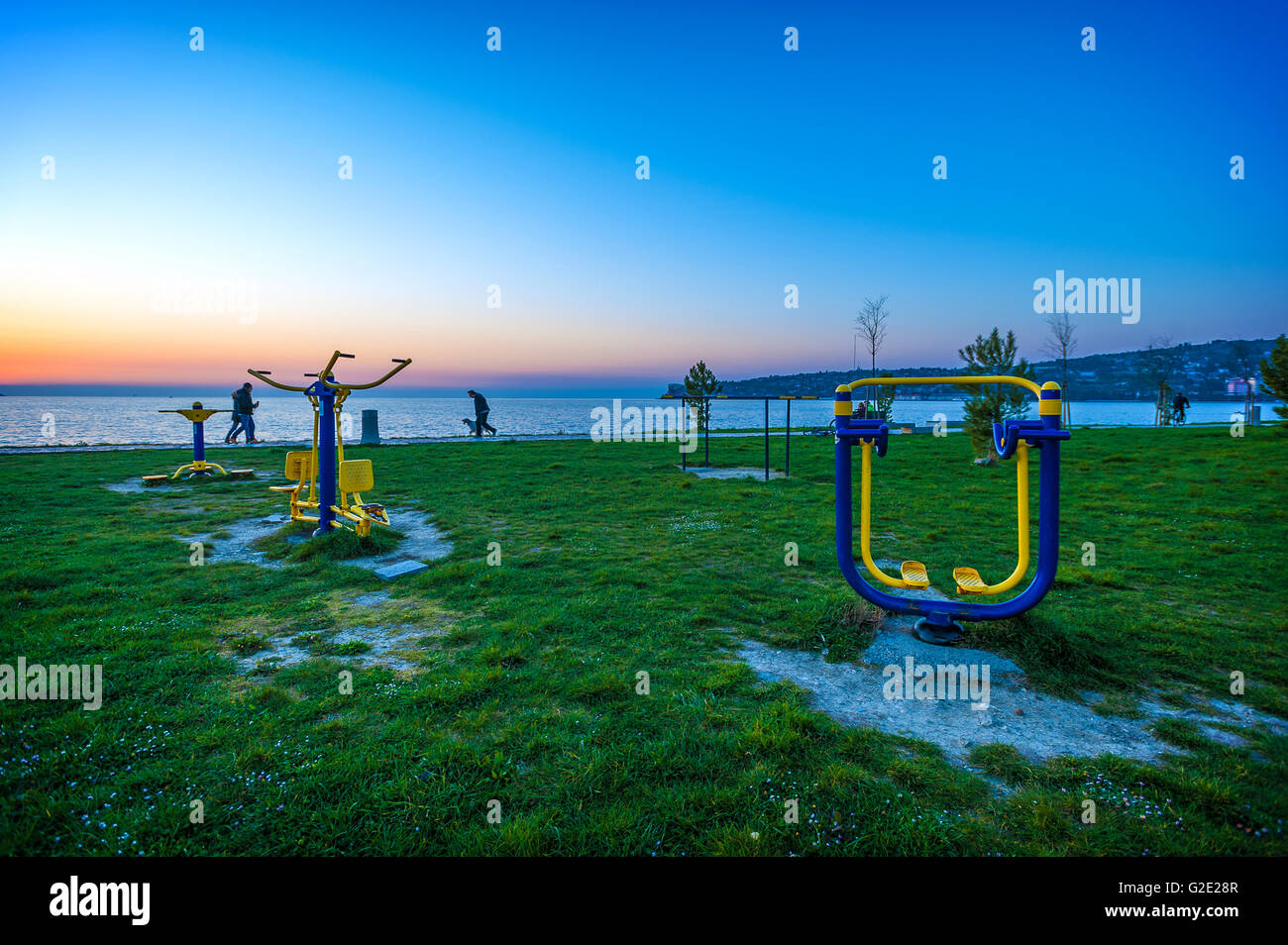 Slowenien-Küste und Kars mediterranen Strand Sportgeräte Stockbild