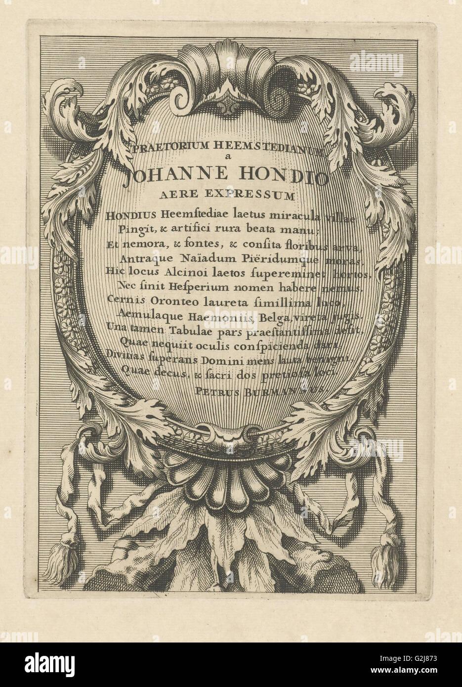 Kartusche mit lateinischer Text, Johannes Hondius, Pieter Burman, 1700-1799 Stockbild