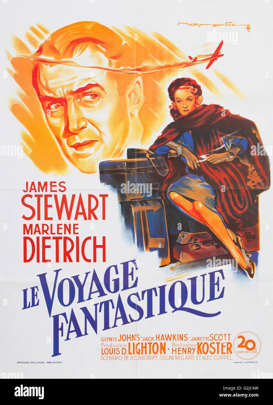 Französischer Regisseur und Poster für Le Voyage Fantastique - No Highway in den Himmel Stockbild
