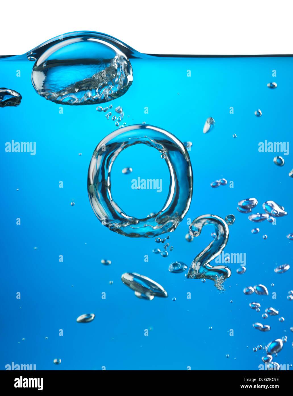 formel von sauerstoff o2 gemacht von luftblasen im wasser stockfoto bild 104918282 alamy. Black Bedroom Furniture Sets. Home Design Ideas