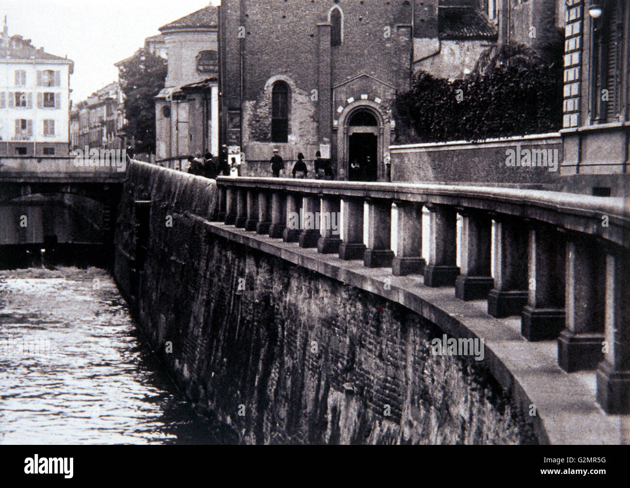 via Fatebenefratelli, Milano der 30er Jahre Stockbild