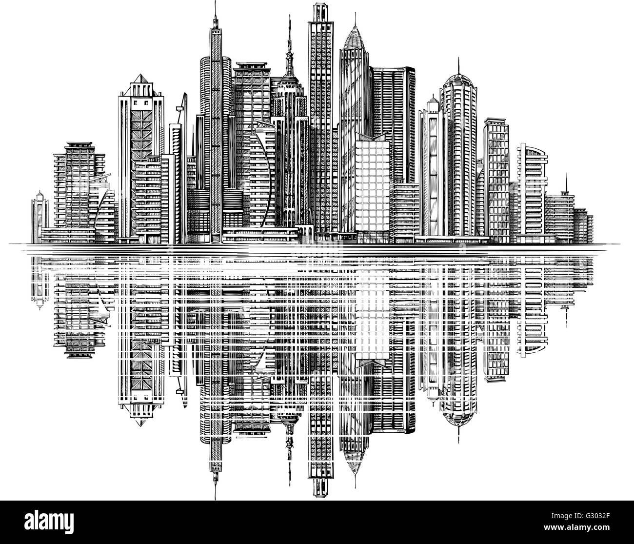 Moderne stadt skyline silhouette vektor architektur und for Moderne architektur gebaude