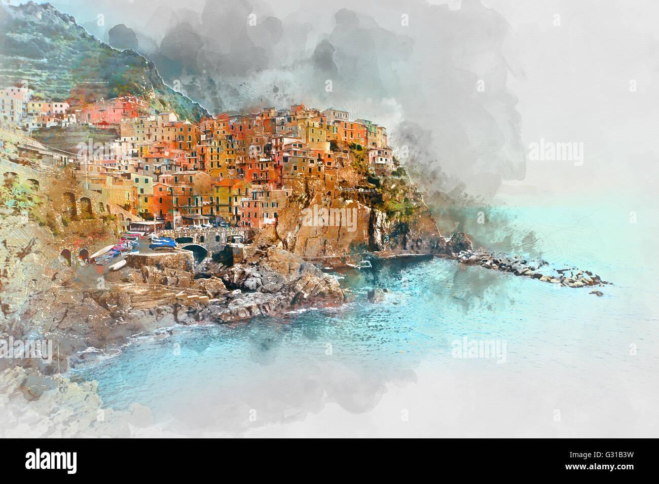 Digitales Aquarell von Manarola. Manarola ist eine Kleinstadt in der Provinz von La Spezia, Ligurien, Norditalien. Stockbild