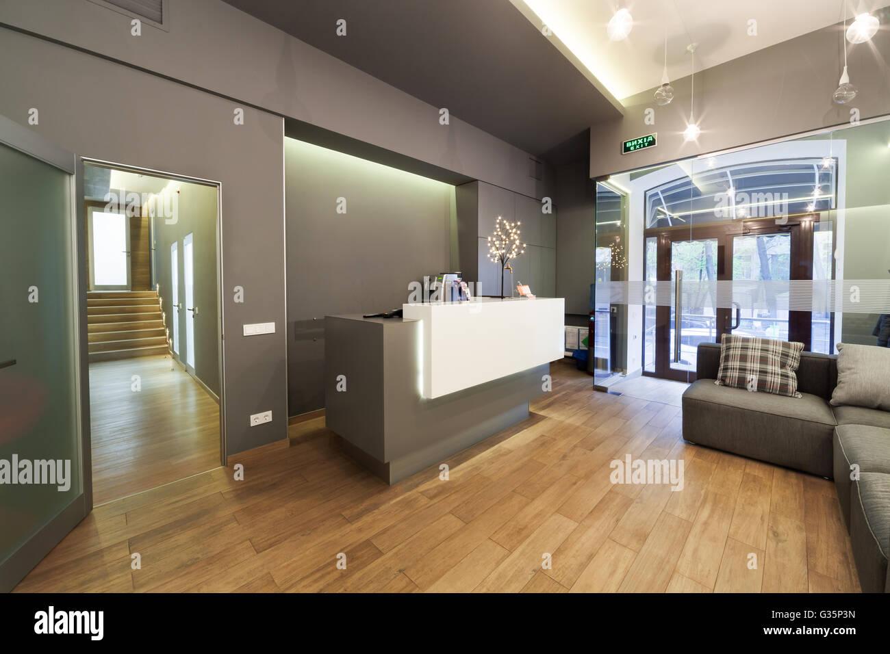 Moderne Innenarchitektur. Lobby-dental clinic Stockfoto, Bild ...