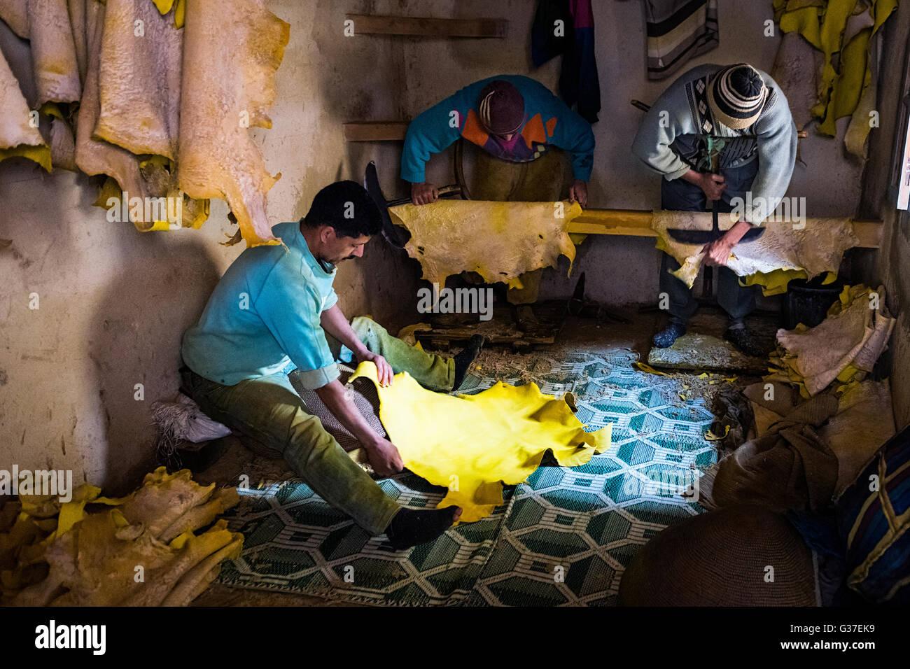 Fes, Marokko - 11. April 2016: Baum-Mann arbeitet in einer Gerberei in der Stadt Fez in Marokko. Stockbild