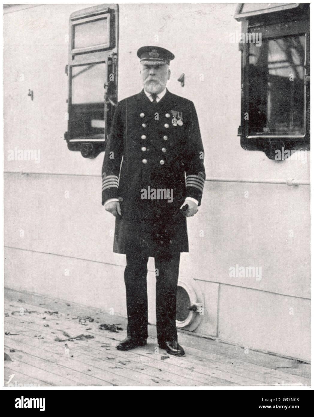 Der Kapitän der RMS Titanic - Kapitän E J Smith.         Datum: 1912 Stockbild