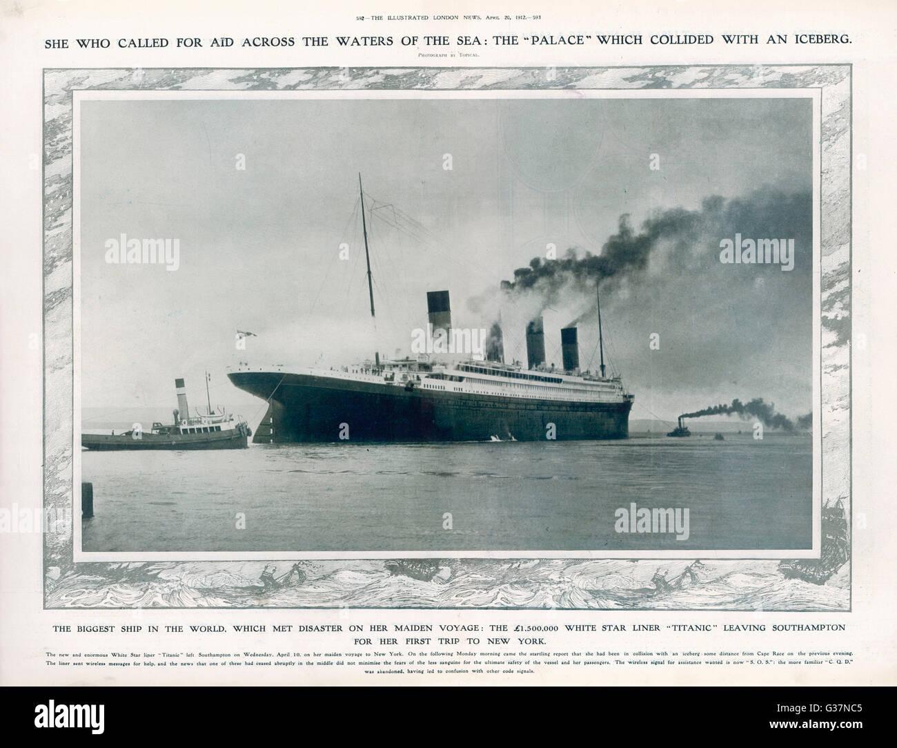 Die SS Titanic Southampton verlassen, seine ill-fated Reise anzutreten. Das Heck des Schiffes als es Hafen verlässt. Stockfoto