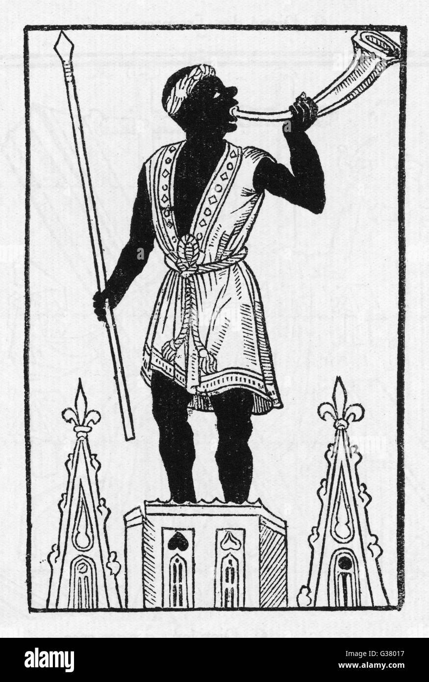 Ein schwarzer Engel klingt der letzten Posaune, verkünden, dass heute ist Tag des jüngsten Gerichts Datum: Stockbild