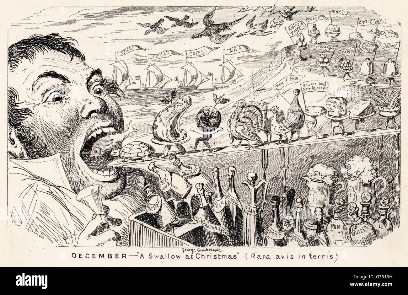 Ein Übermaß an Speisen und Getränke zu Weihnachten Datum: 19. Jahrhundert Stockbild