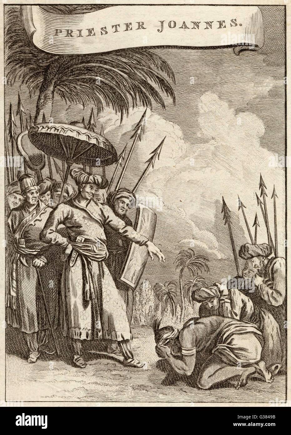 PRESTER JOHN legendären christlichen König und Priester des Mittelalters Datum:- Stockbild