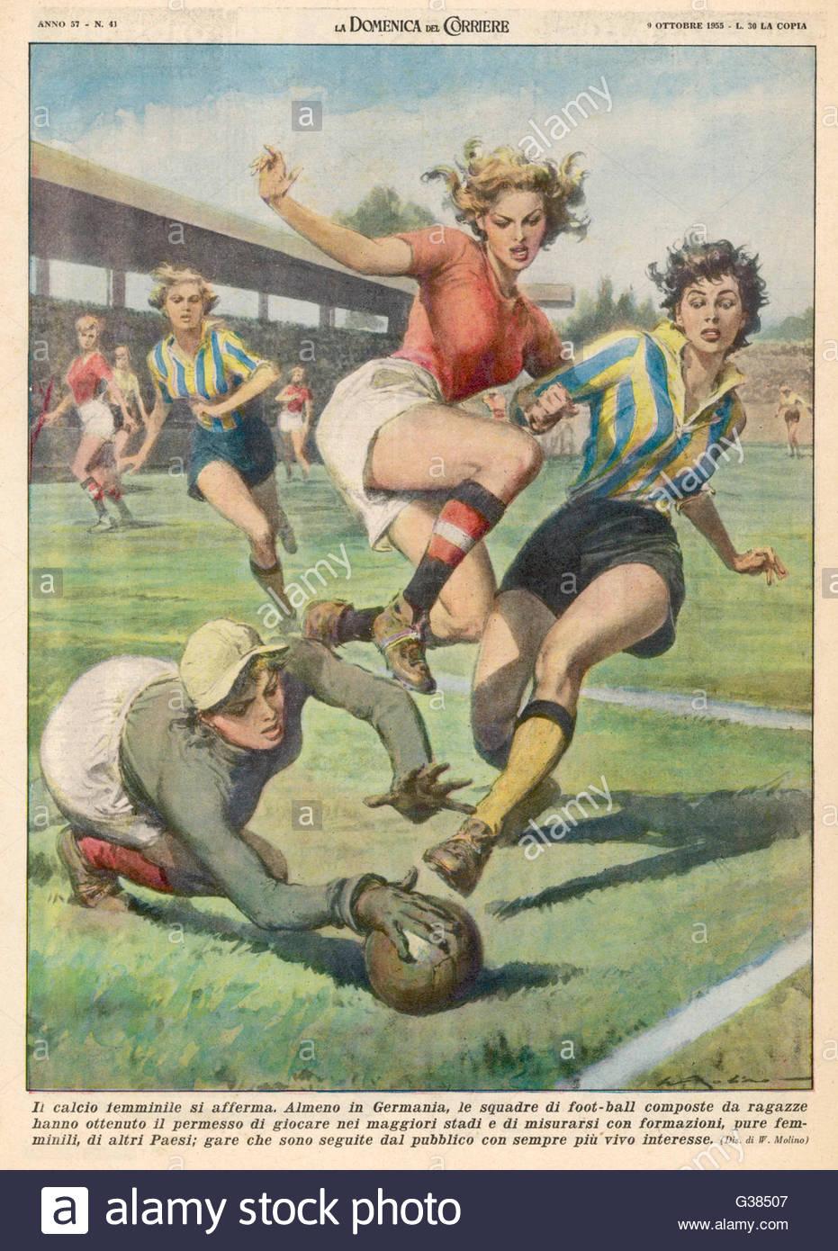 Damen Fußball A Damen entsprechen Datum: 1955 Stockbild