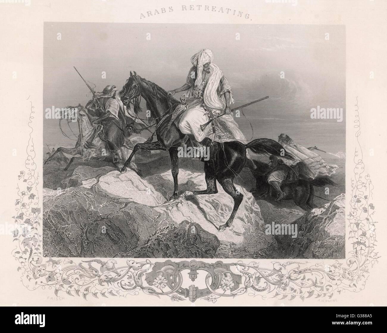 Araber Rückzug aus einem Konflikt Datum: Ende des 19. Jahrhunderts Stockbild