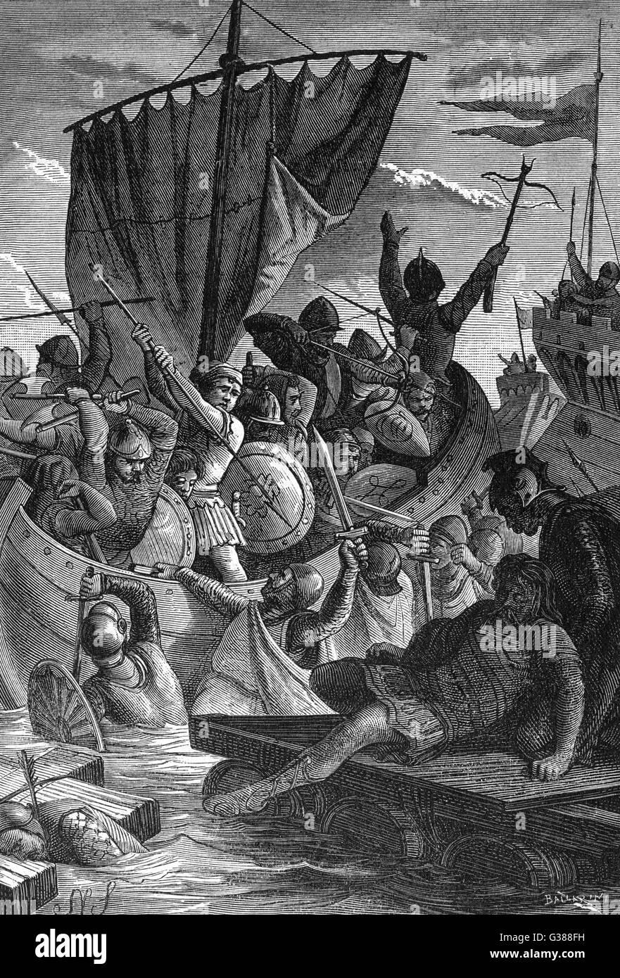 Venezianer in Konflikt mit den Franken-Datum: 787 Stockbild