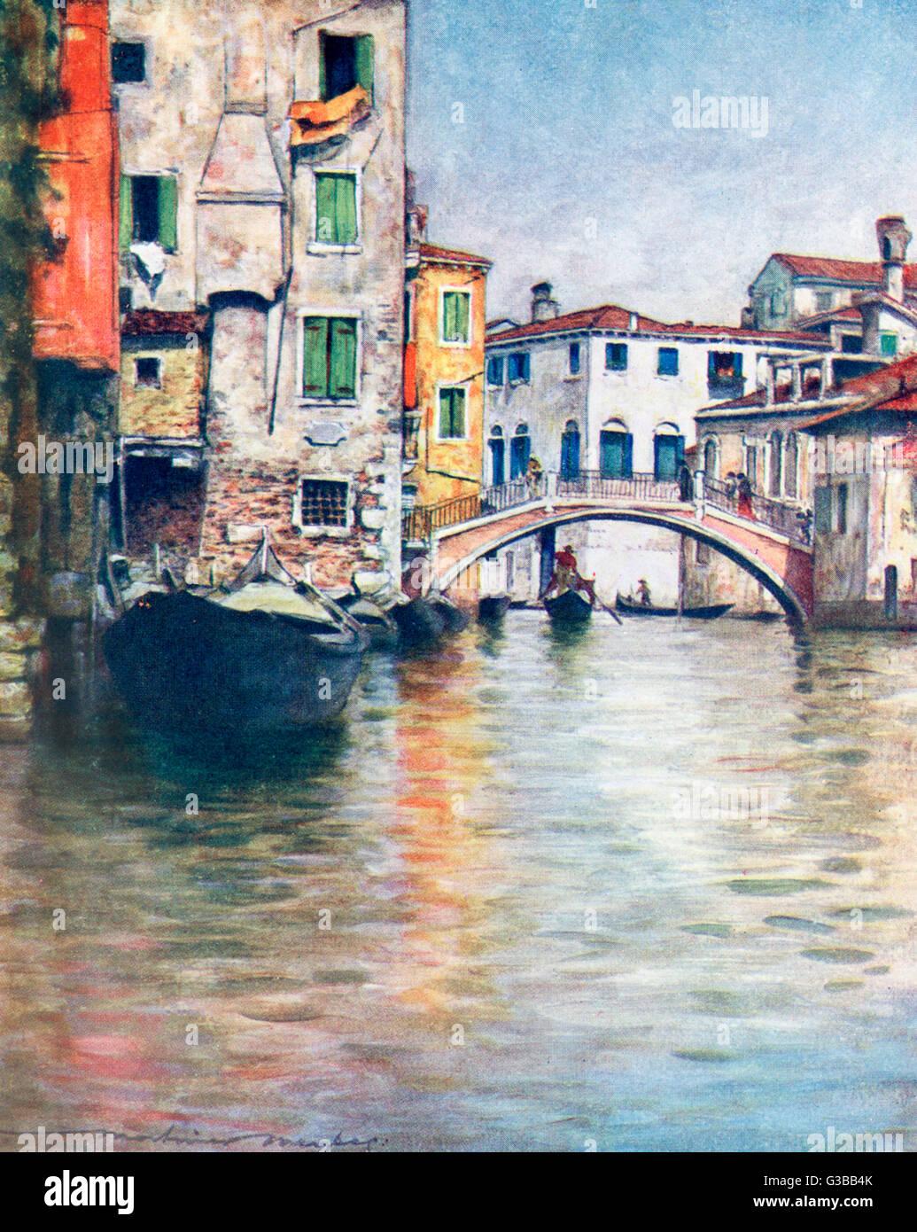Brücke über einen venezianischen Kanal.         Datum: 1916 Stockbild