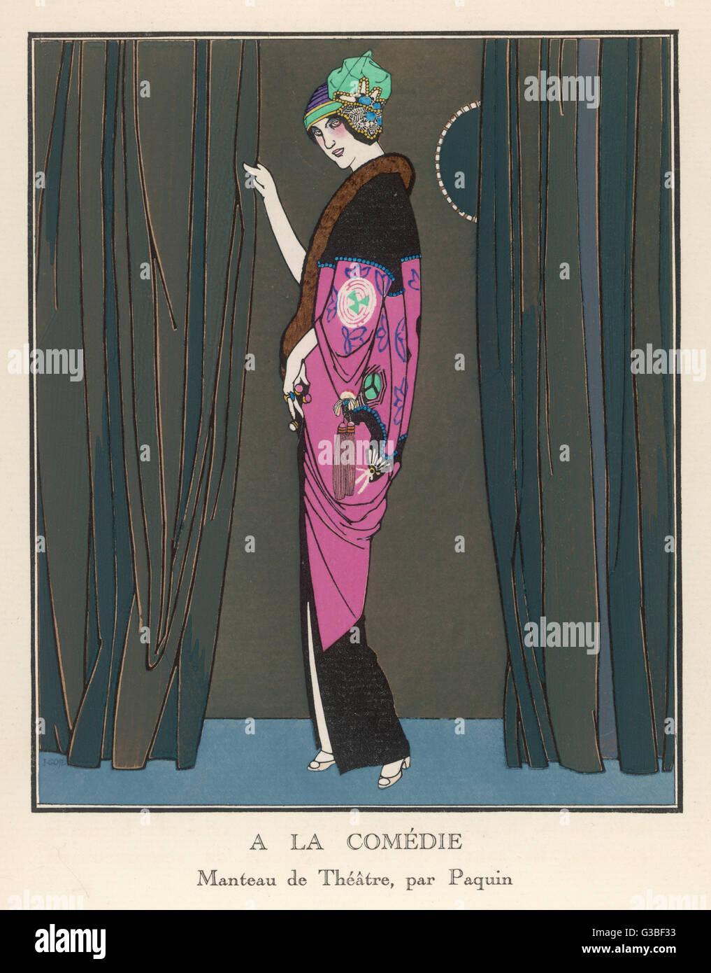 Exotische Rosa & Schwarz Kimono Stil Theater Mantel von Paquin mit chinesische Stickerei verziert und mit Stockbild