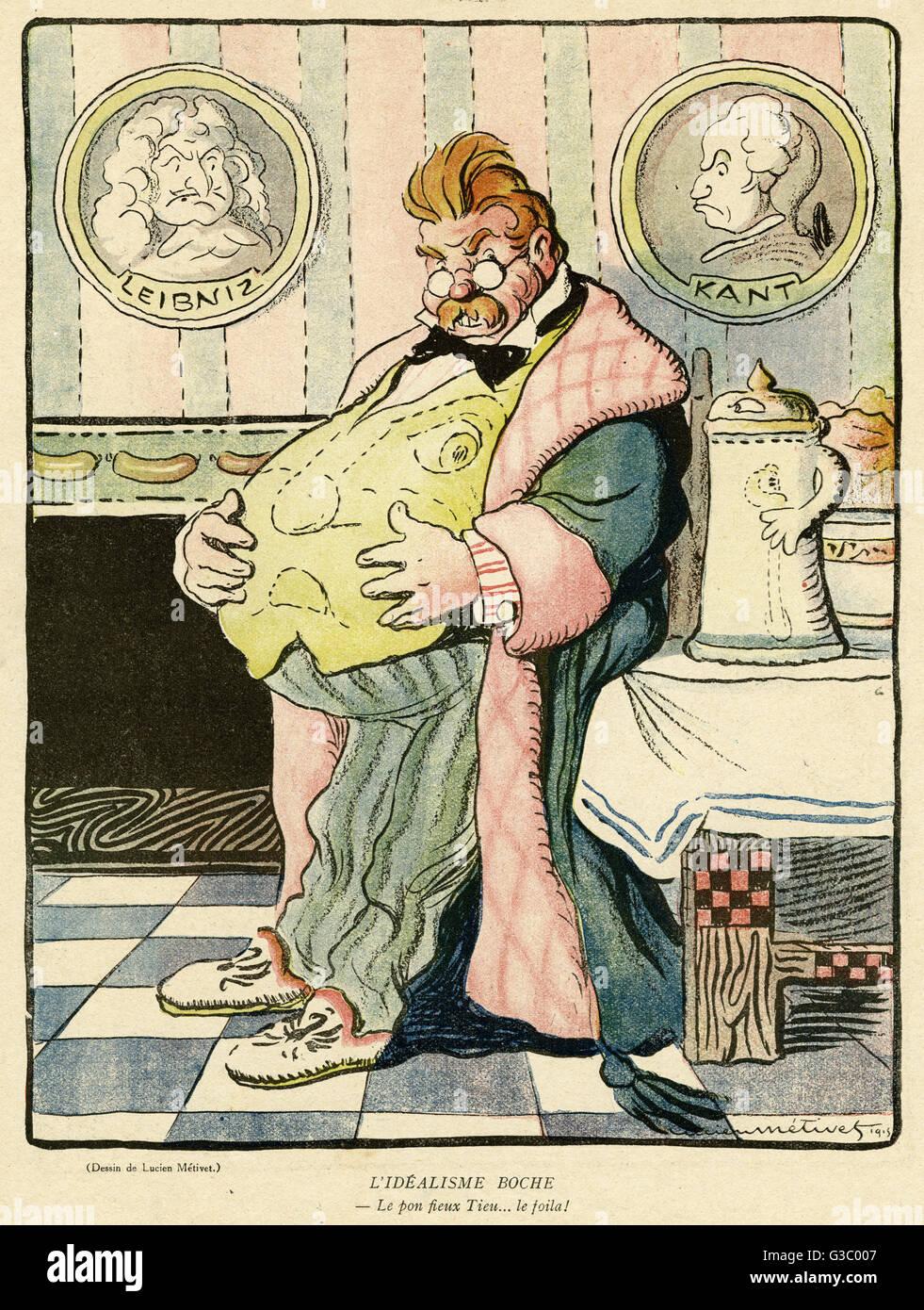 Cartoon, Boche Idealismus--eine fette deutsche mit Nahrungsmitteln und Getränken auf dem Tisch und Porträts Stockbild