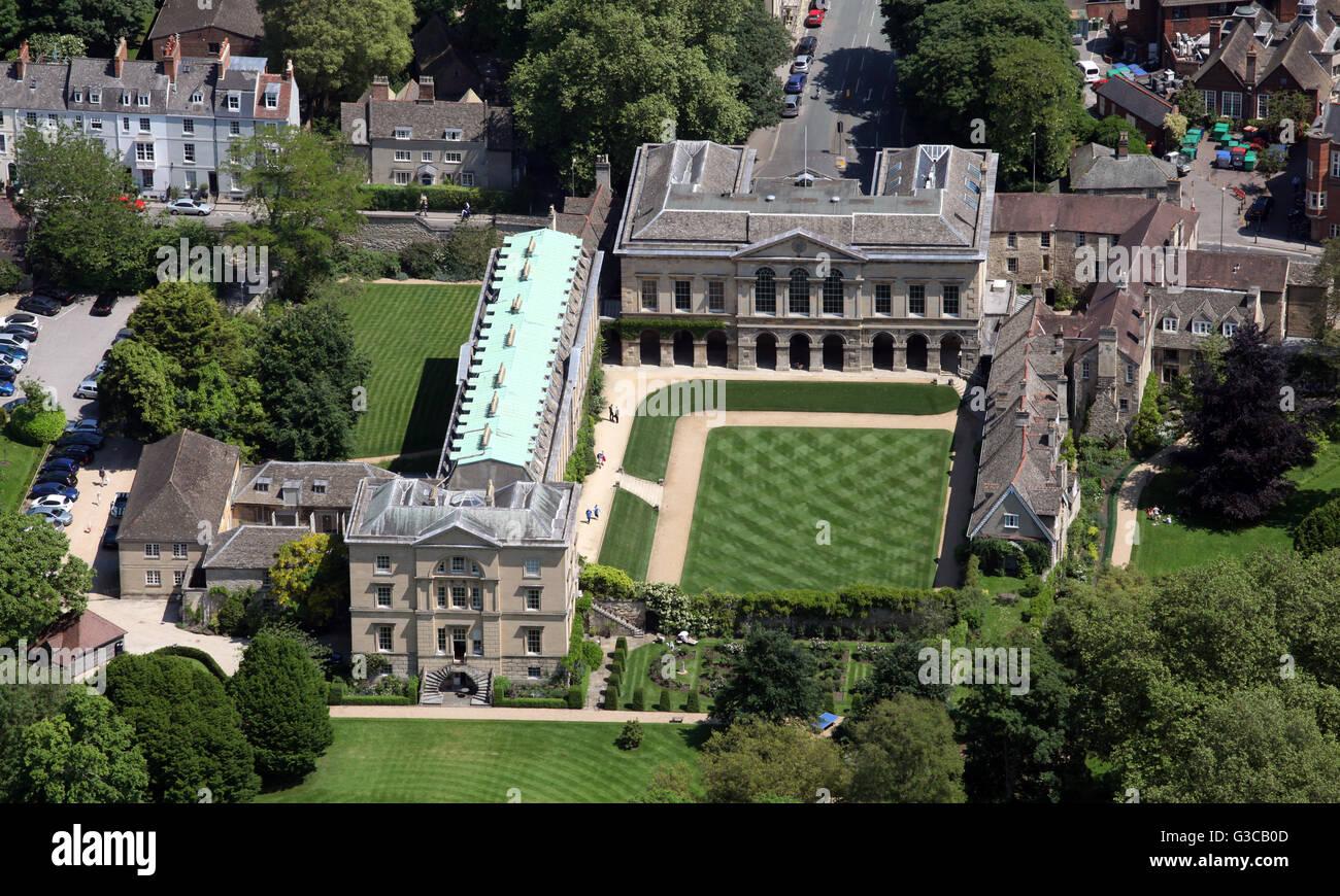 Luftaufnahme von Worcester College der Oxford University, UK Stockbild