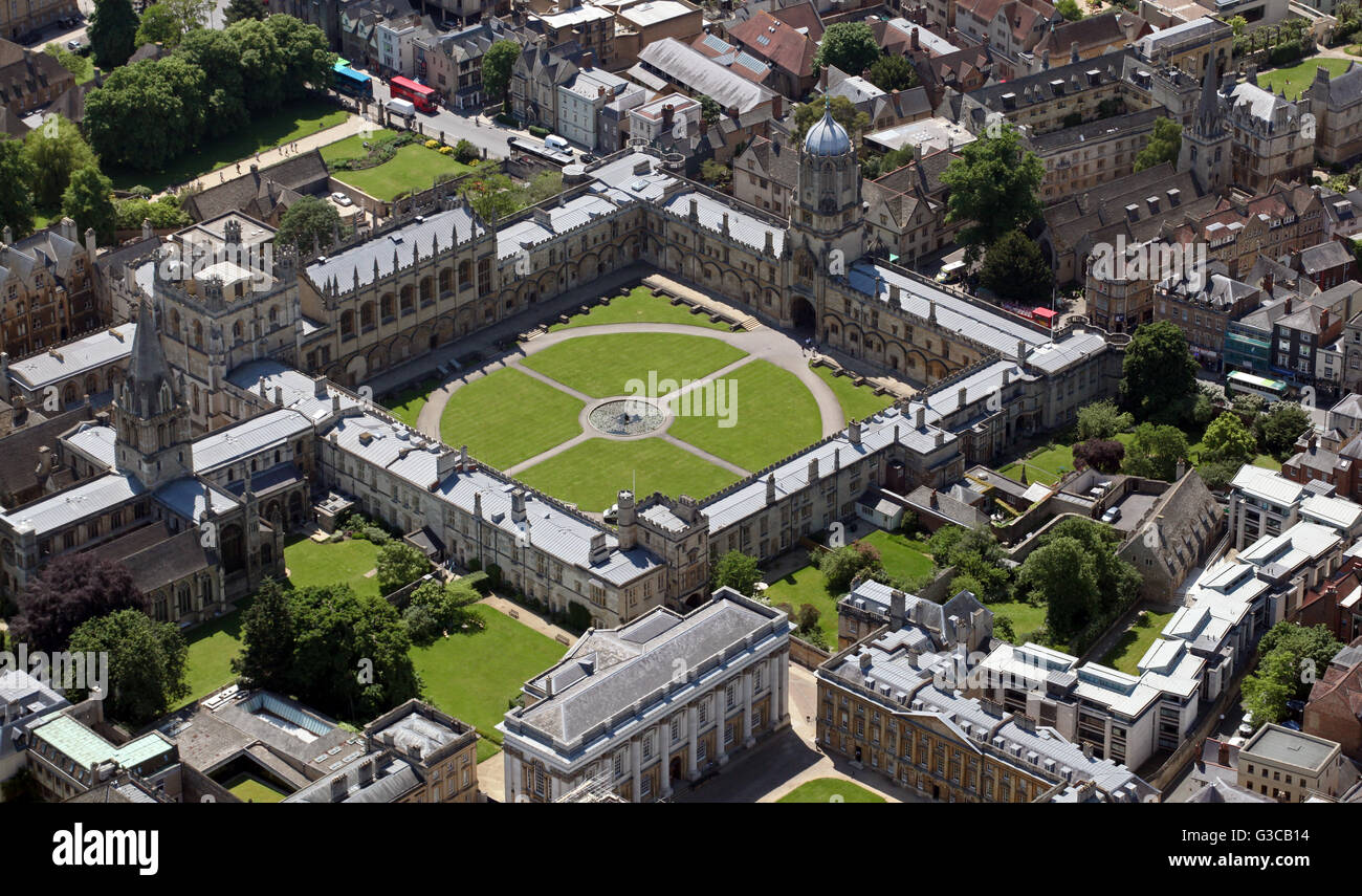 Luftaufnahme des Christ Church College University, Oxford, UK Stockbild