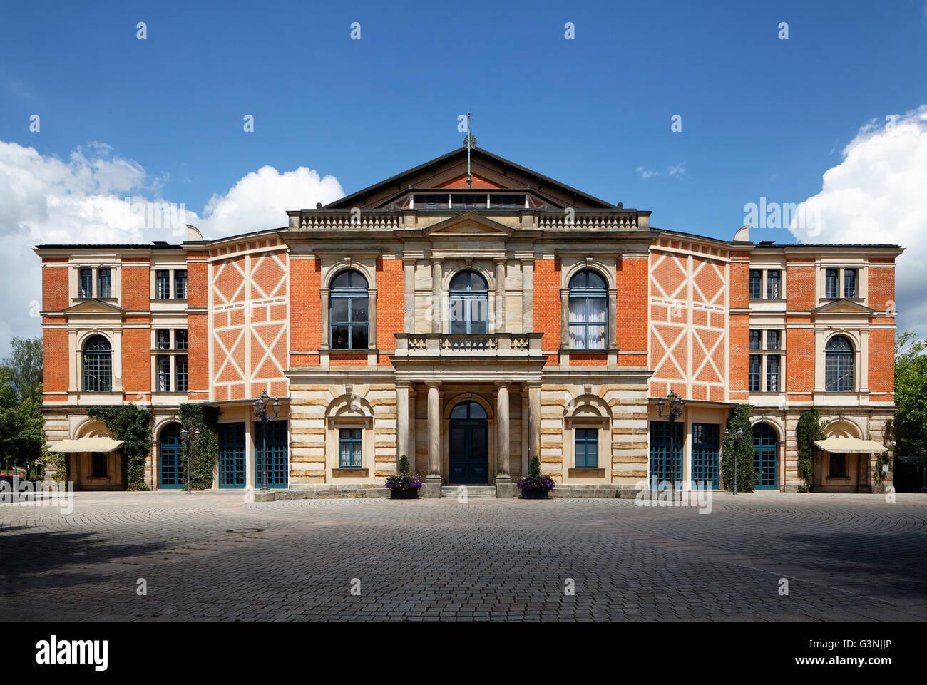 Bayreuther Festspielhaus, Richard-Wagner-Festspiele, Bayreuther Festspiele, Festival Hill, Bayreuth, Oberfranken, Stockbild