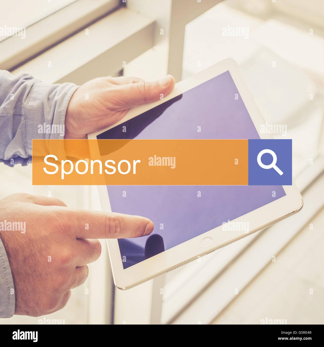 Suche Technologie Kommunikation Sponsor TABLET Feststellung Konzept Stockbild