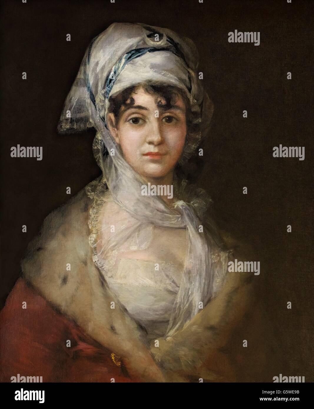 Porträt der Schauspielerin Antonia Zarate von Francisco Goya, ca. 1810-1811. Staatliche Eremitage, Sankt Petersburg, Stockbild