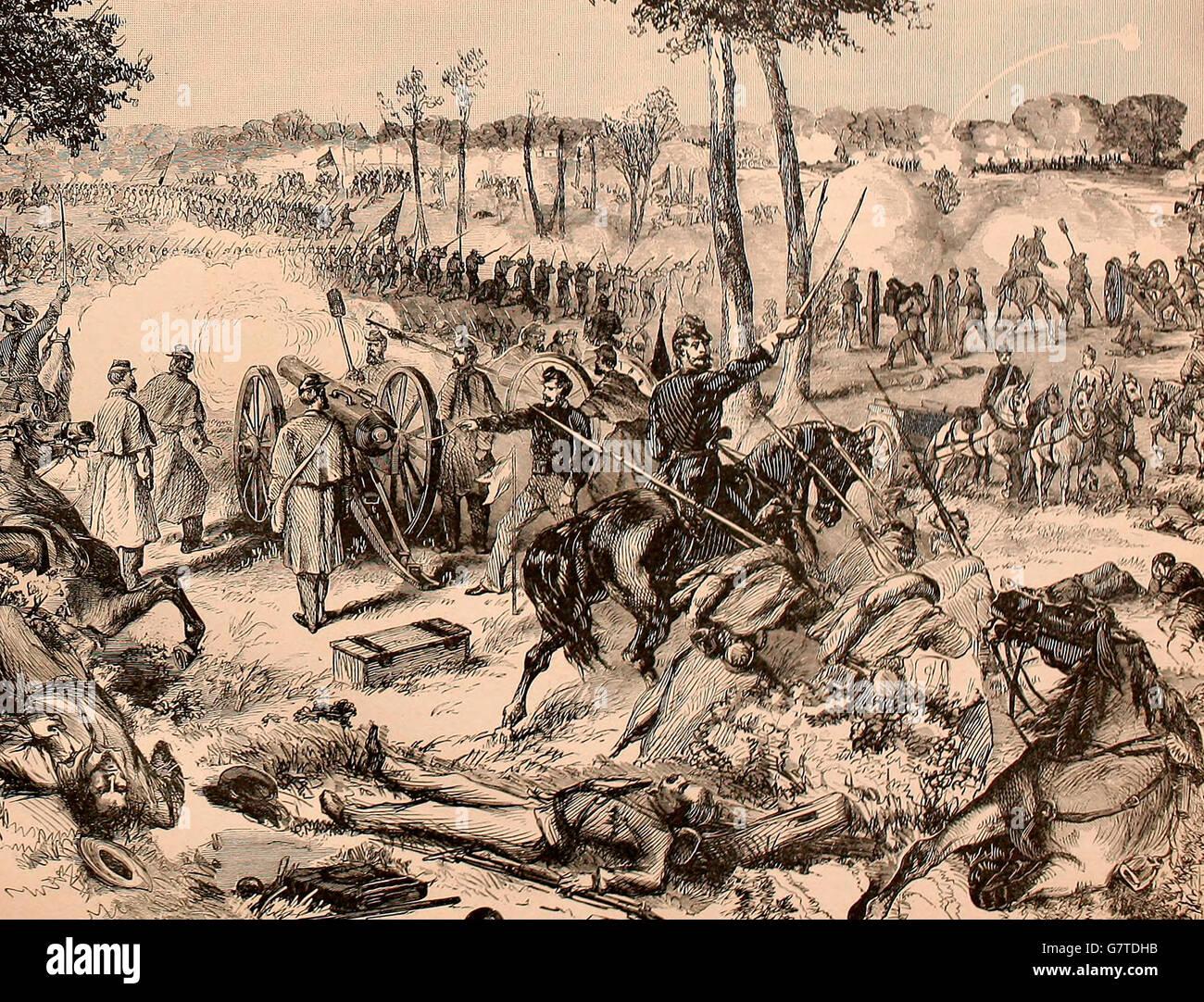 Konflikt am Black River, in der Nähe von Martinsburg, Virginia, 2. Juli 1861. USA Bürgerkrieg Stockbild