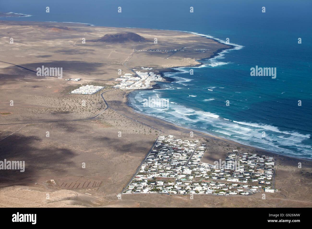 Luftaufnahme von Famara Lanzarote Kanarische Inseln Stockbild