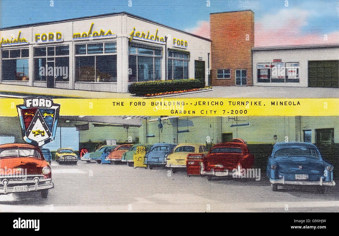 FORD-Händler auf einer Postkarte um 1950 Stockbild