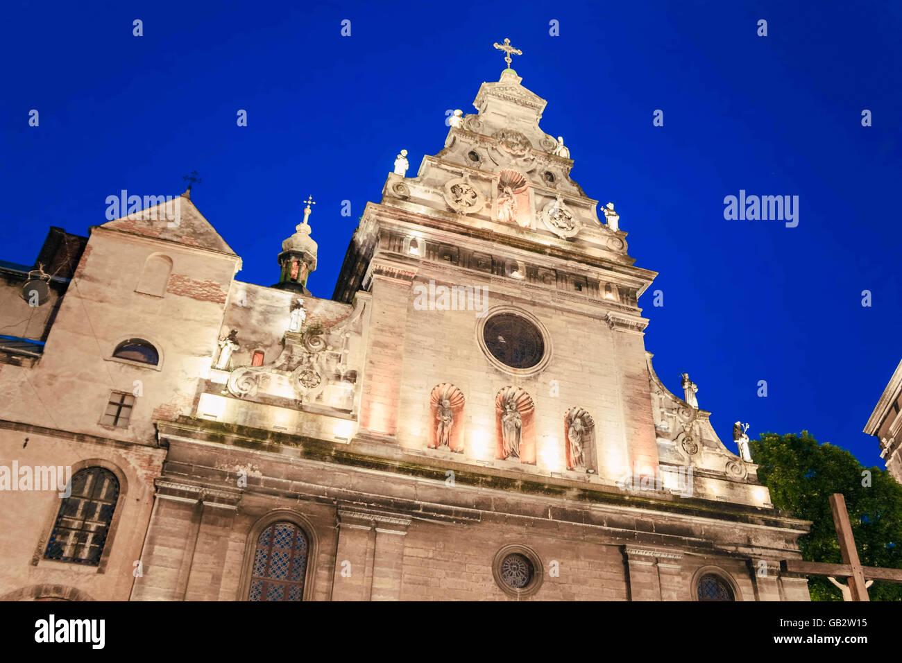 Jesuiten-katholische Kirche in Lemberg Stockbild