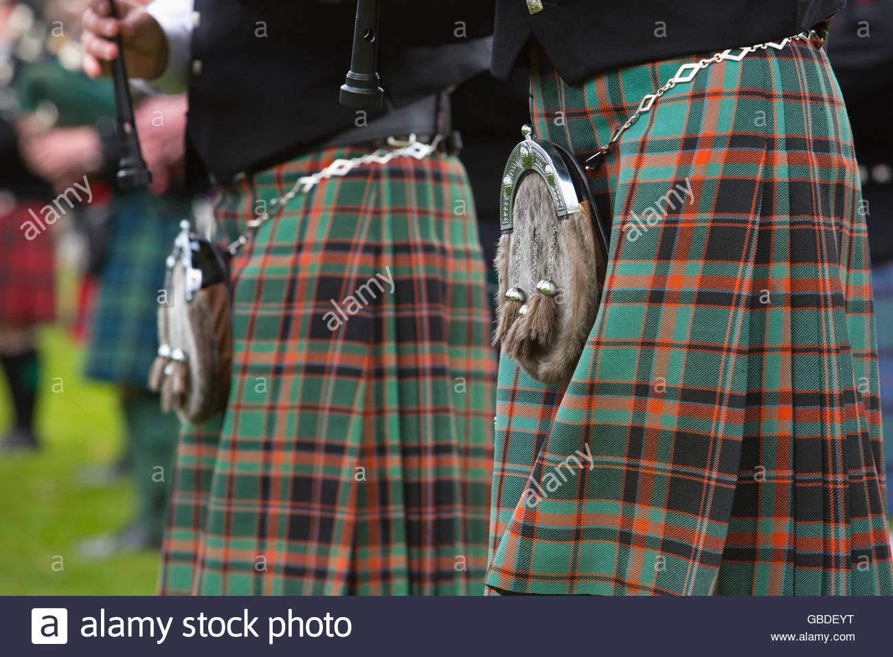 Ein Detail des Kilts einer Pipe Band, Schottland. Stockbild
