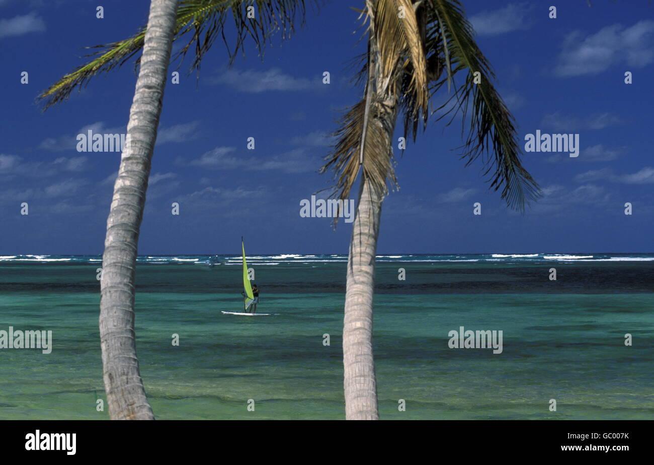 Sterben Sie Strandlandschaft Bei Bavaro der Ostkueste eine der Karibik in der Dominikanische Republik.  (KEYSTONE/Urs Stockbild