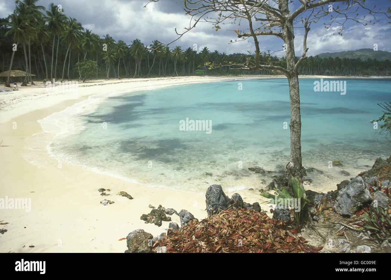 Sterben Sie Strandlandschaft Bei Las Terrenas Auf der Halbinsel Samana eine der Karibik in der Dominikanische Republik. Stockbild