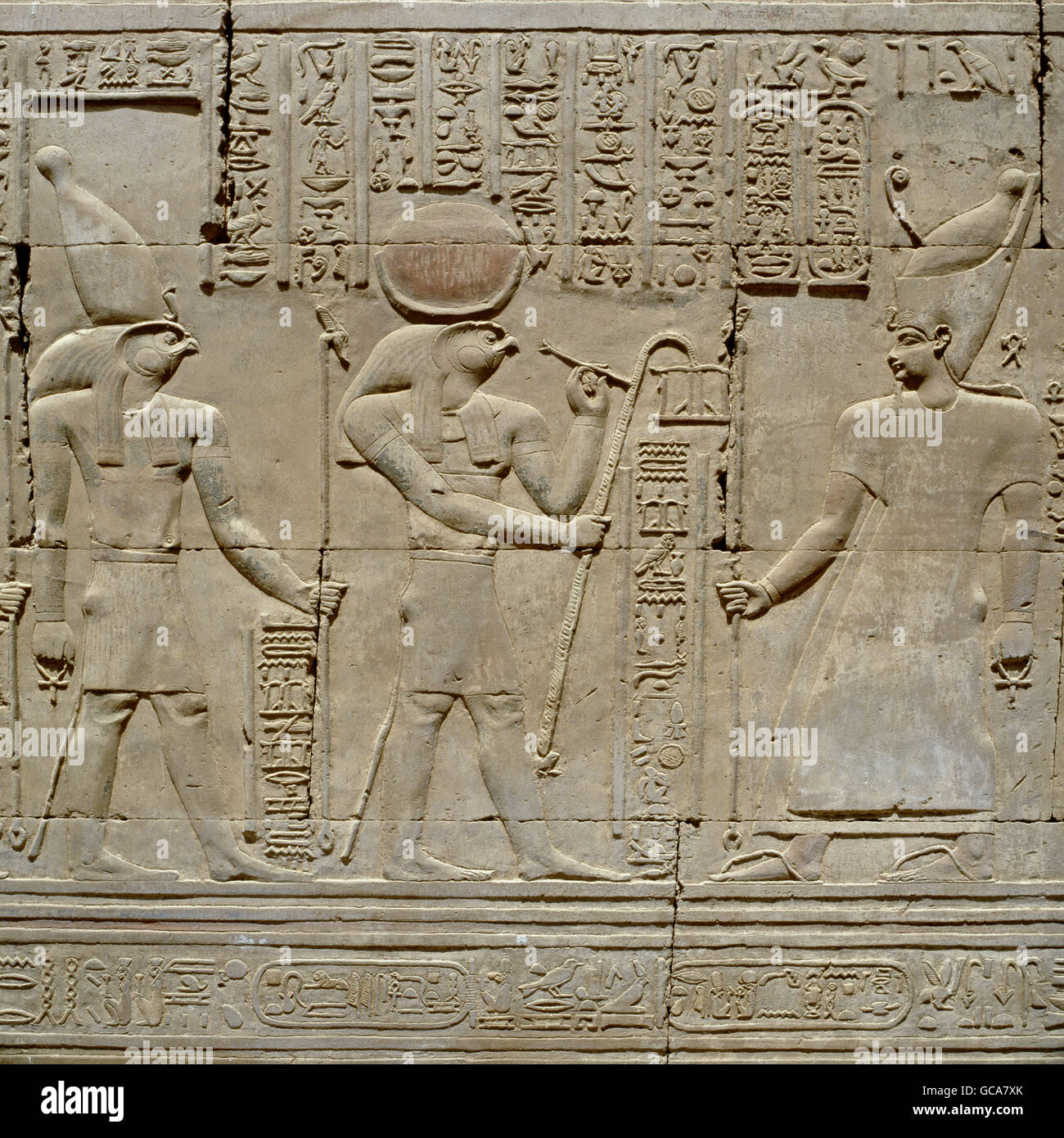 Bildende Kunst, antike, Ägypten, Relief im Tempel von Kom Ombo Stockbild