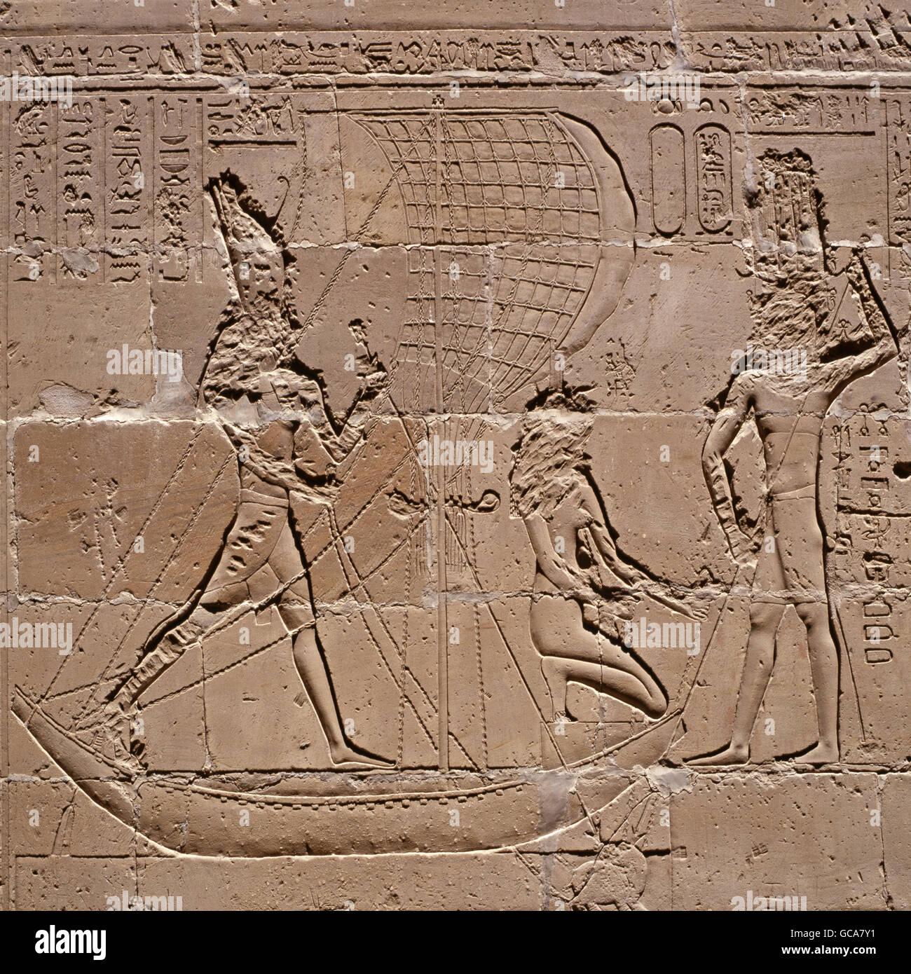 Bildende Kunst, antike, Ägypten, Horus Tempel, Pharao im Boot, während Nilpferd Jagd, Edfu, Stockbild