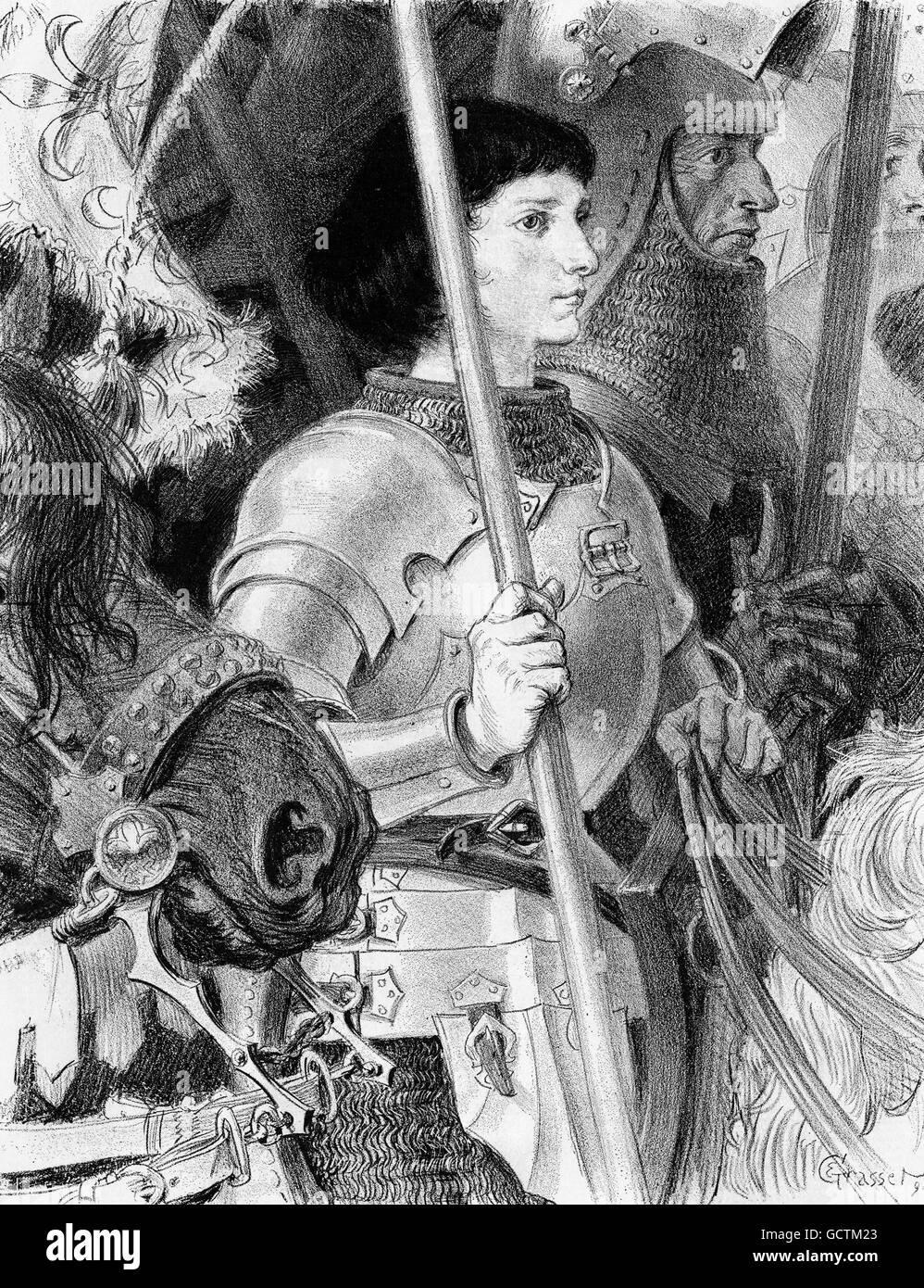 """Johanna von Orléans (Jeanne d ' Arc: c.1412-1431), oft als """"Jungfrau von Orléans"""" bezeichnet. Stockbild"""