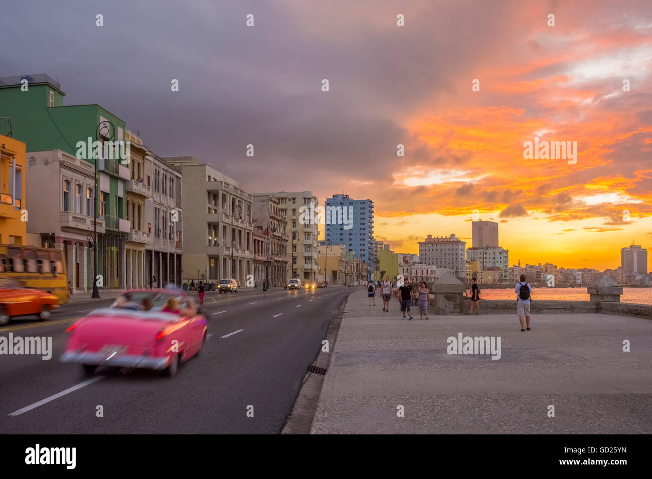 Der Malecon, Havanna, Kuba, Karibik, Karibik, Mittelamerika Stockbild