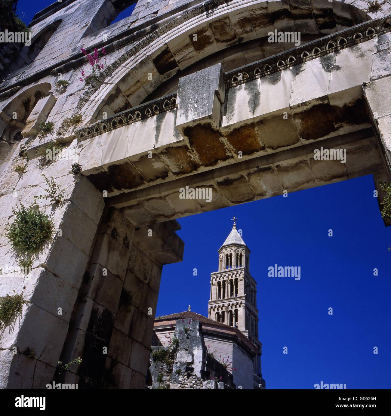 Kathedrale Sveti Duje Im Diokletianspalast, Fernsehreihe, Split, UNESCO Weltkulturerbe, Europa Stockbild